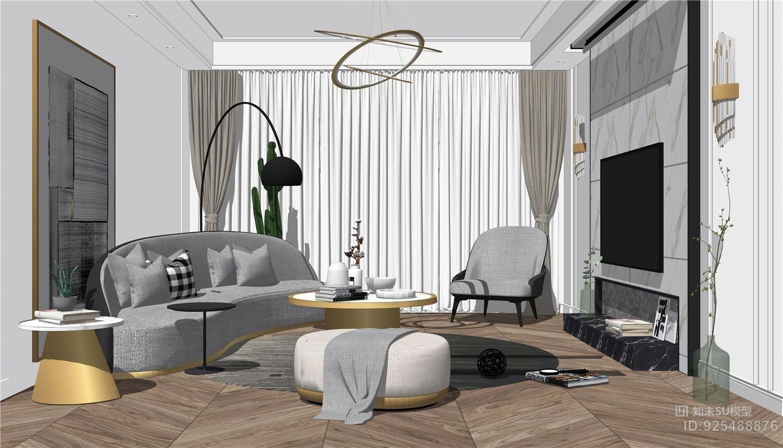 现代法式轻奢客厅