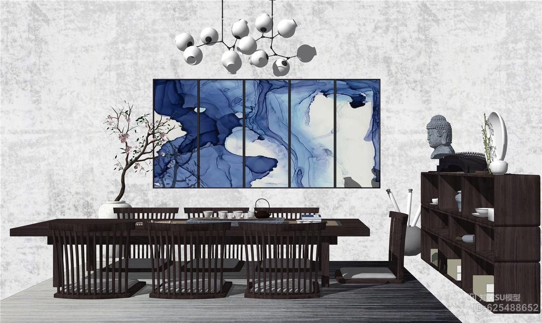 新中式餐桌椅组合茶室