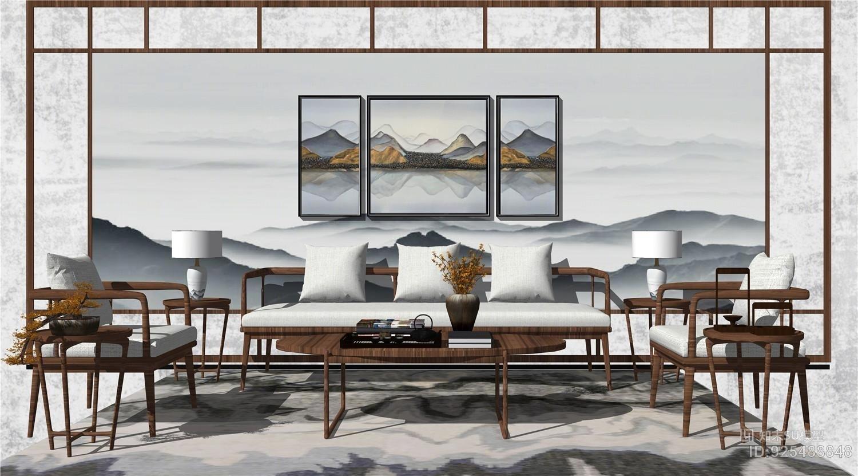 新中式沙发组合 客厅