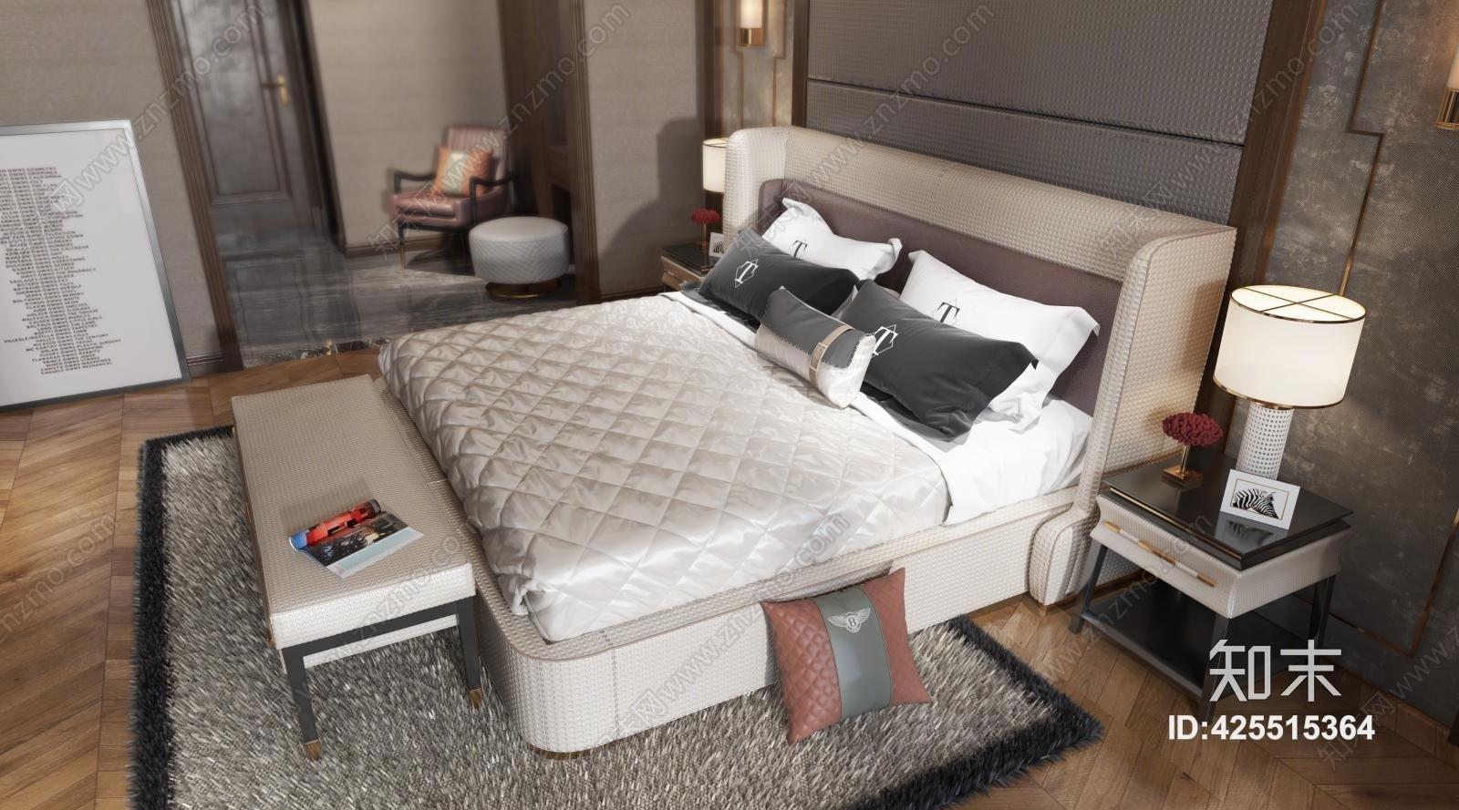 轻奢卧室 床 床头柜 床尾凳 台灯 吊灯