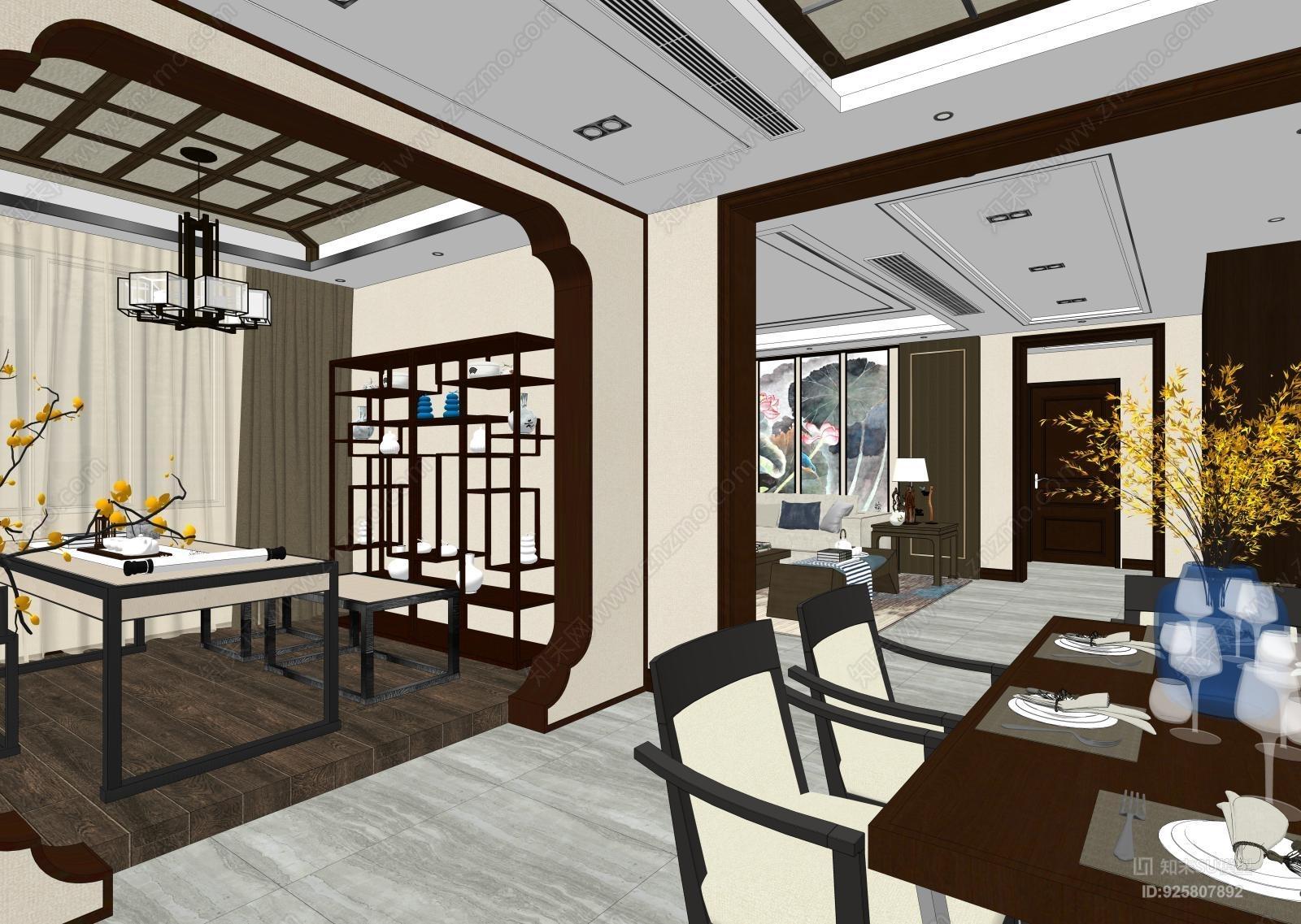 新中式风格客厅书房套模