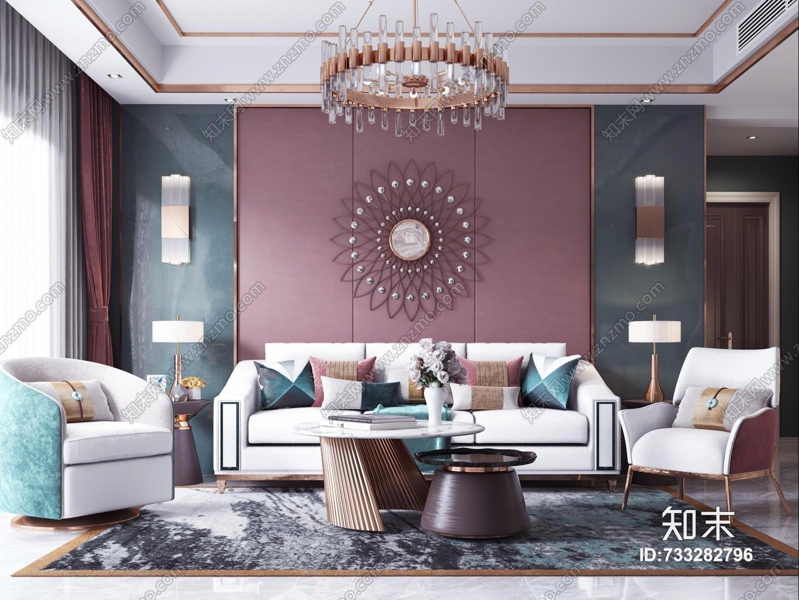 现代轻奢客厅 沙发茶几 吊灯