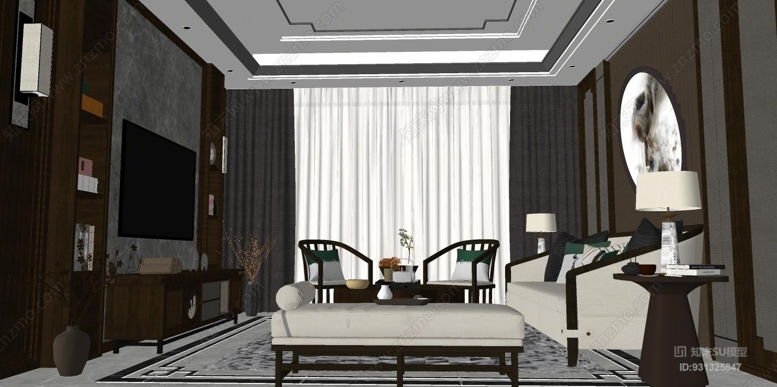 家装新中式风格客厅室内 办公室 餐厅 家具 会议室
