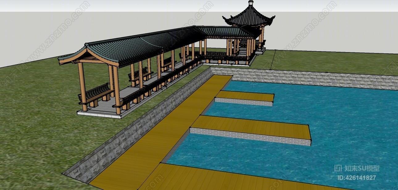 亭廊现代中式滨水景观SU模型下载【ID:426141827】