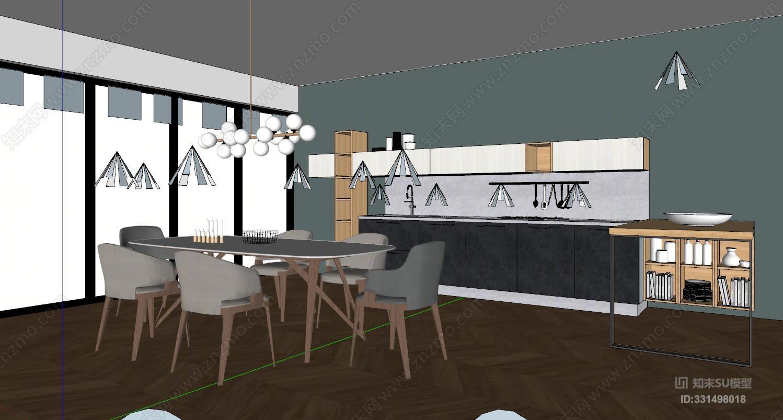 北欧开放式厨房 餐厅 餐桌椅 吊灯橱柜 吧台