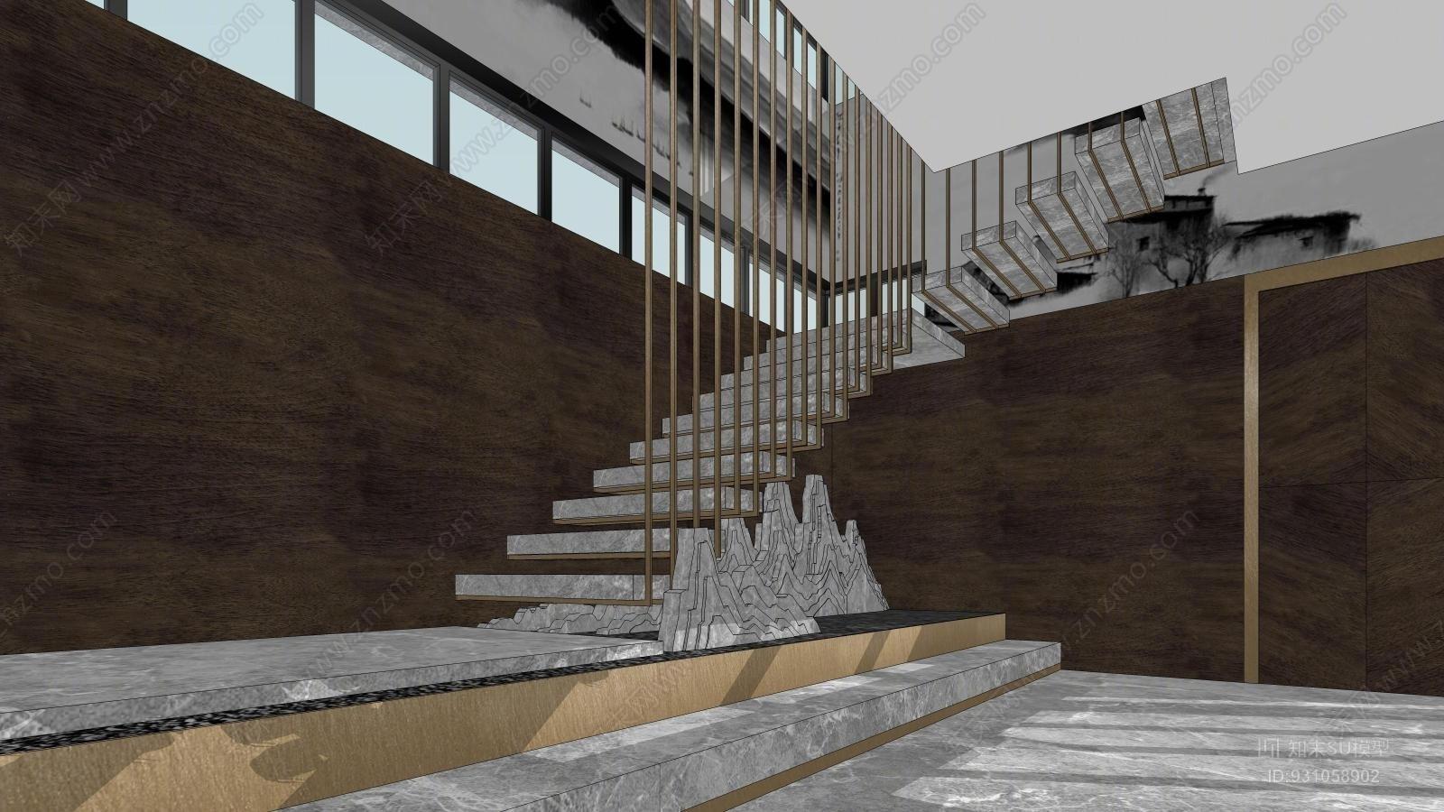 新中式方案室内游泳池装修设计黑白SU风格下住宅灰模型设计理念图片