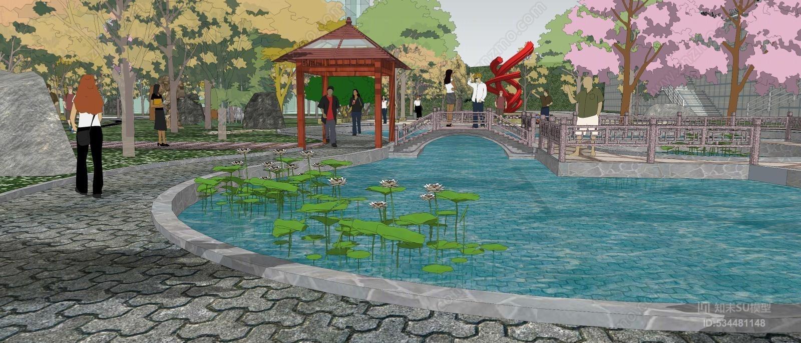 大型社区公园喷泉亭台精美模型