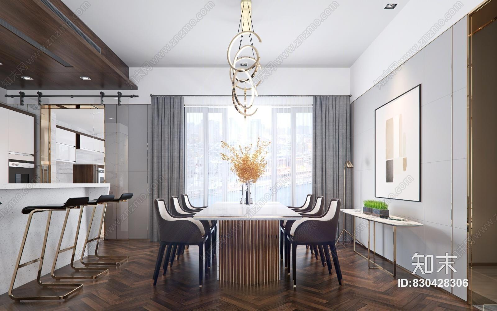 现代客餐厅 现代沙发椅组合 现代餐桌椅组合
