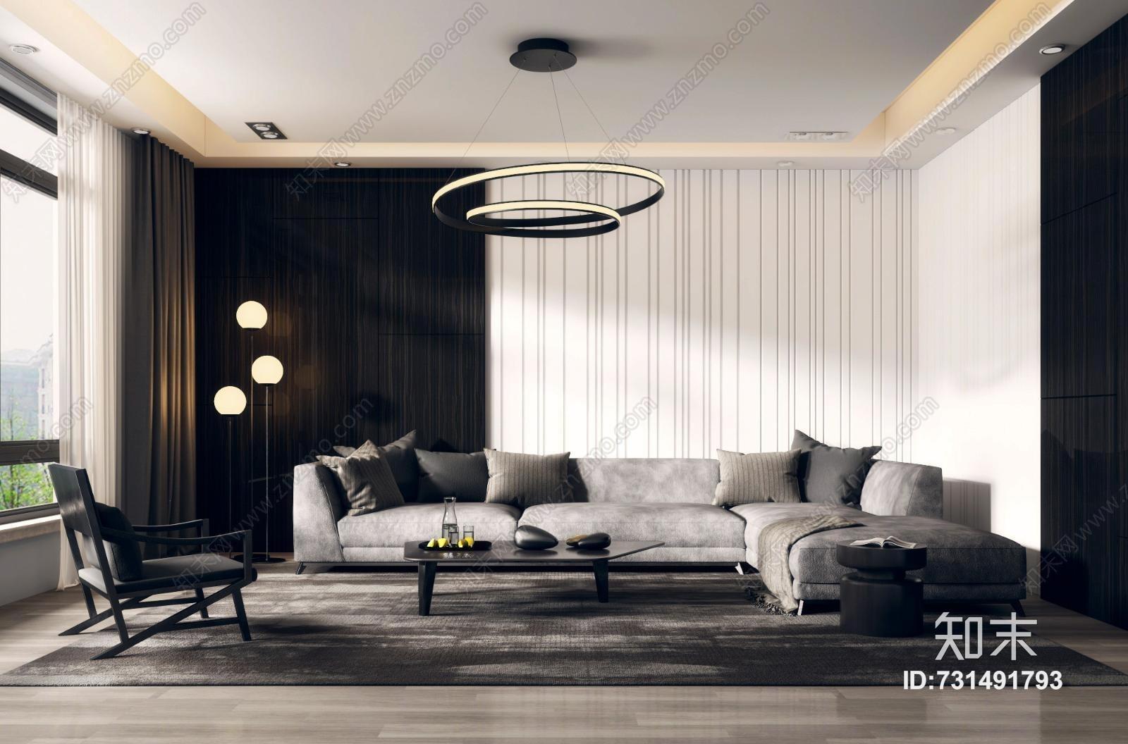 现代客厅 现代沙发组合 转角沙发 现代沙发 单椅 椅子 落地灯