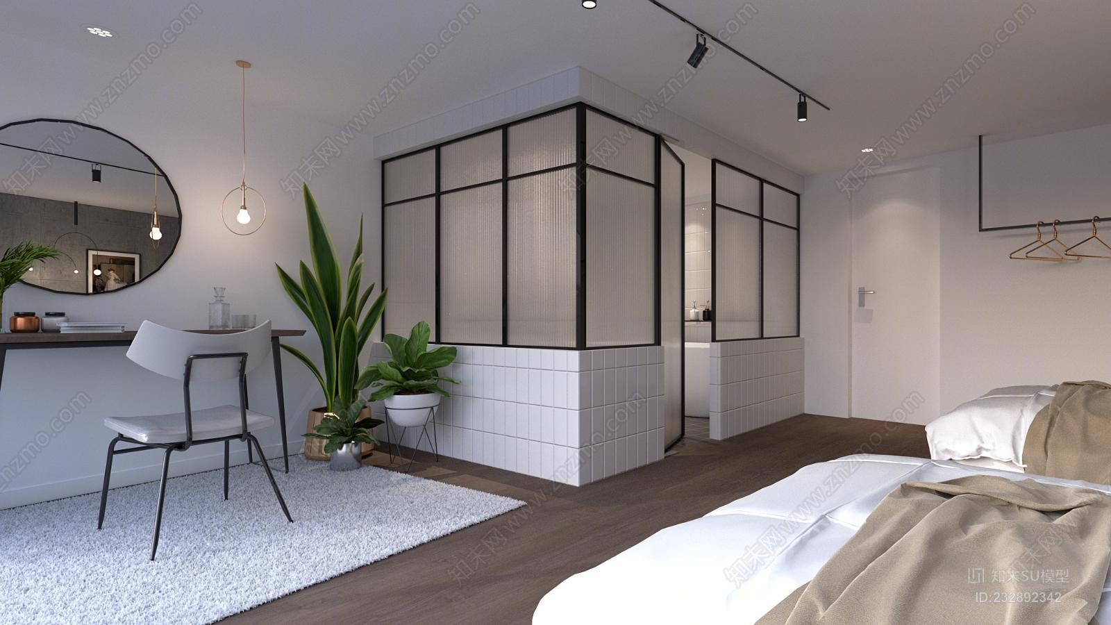 现代风格梳妆台植物浴缸挂画吊灯标间床玻璃杯组合