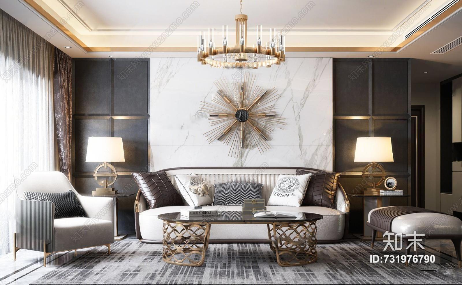 现代轻奢客厅 沙发茶几 吊灯 墙饰