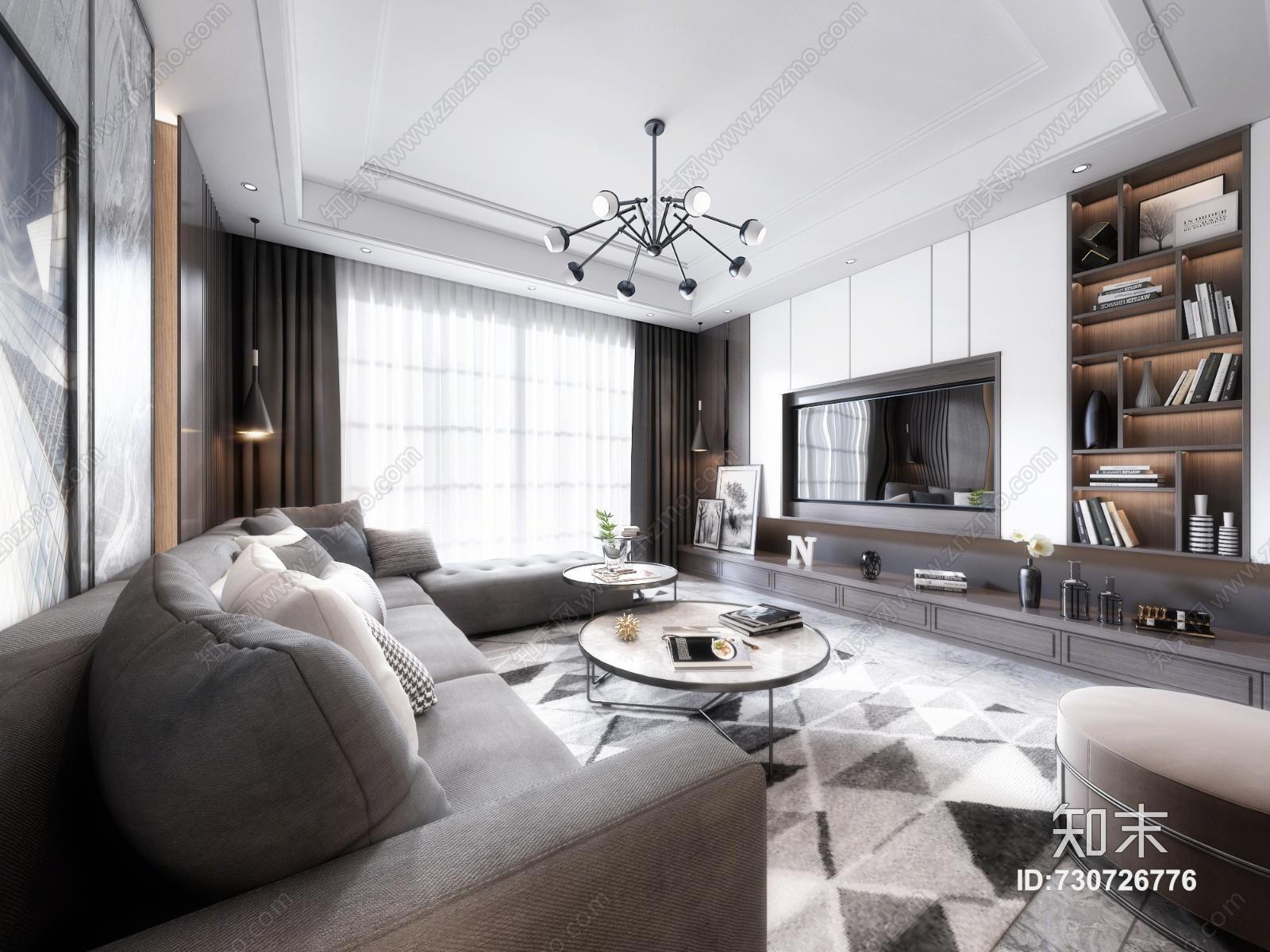 现代客厅 沙发 餐桌 吊灯 台灯 地毯 窗帘 装饰品 挂画 抱枕 茶几