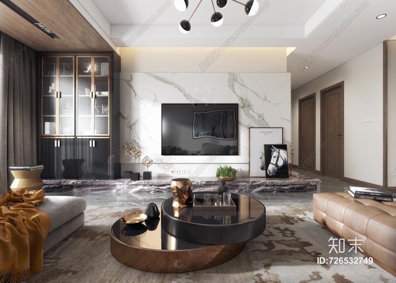 现代客厅 沙发茶几 吊灯 挂画 摆件 电视柜 背景墙 餐桌椅