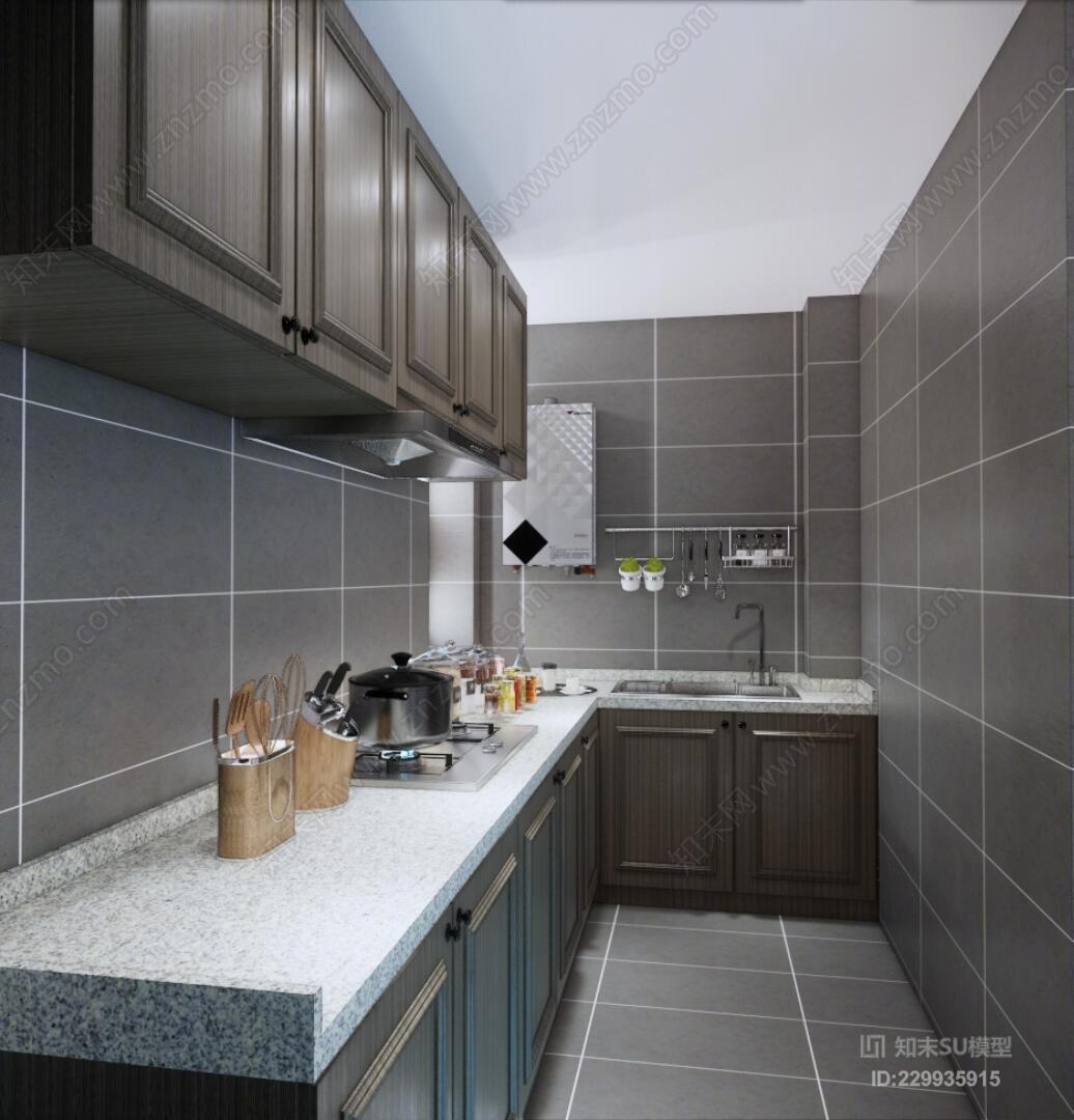小户型整体橱柜整体厨房炉灶 洗碗机 微波炉 炊具 室内