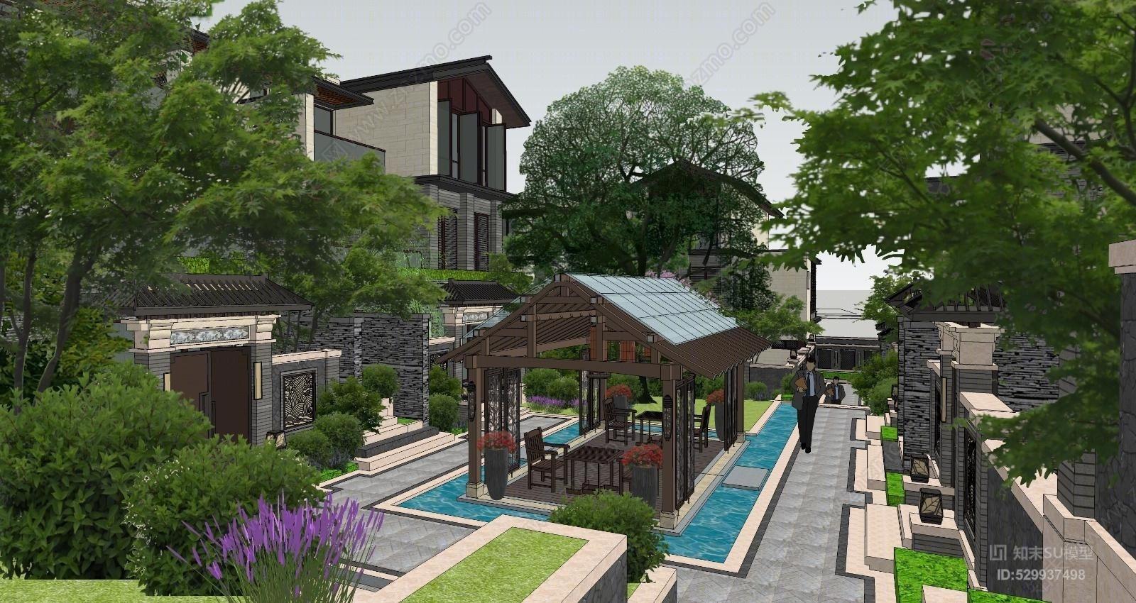 大理唐林恒宅间中式联排别墅景观小区景观中式景观