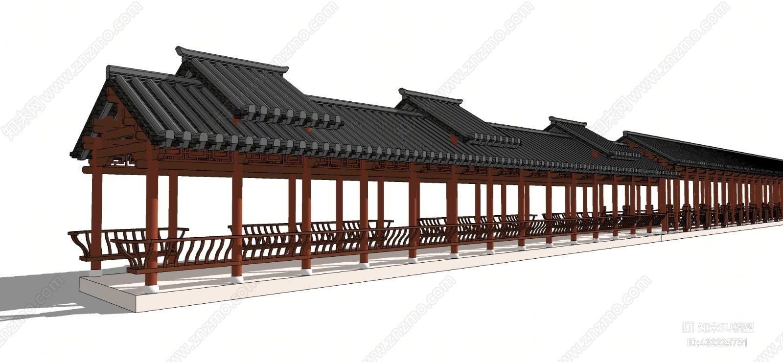 中式景观廊架床 寺庙 室外 楼梯 建筑