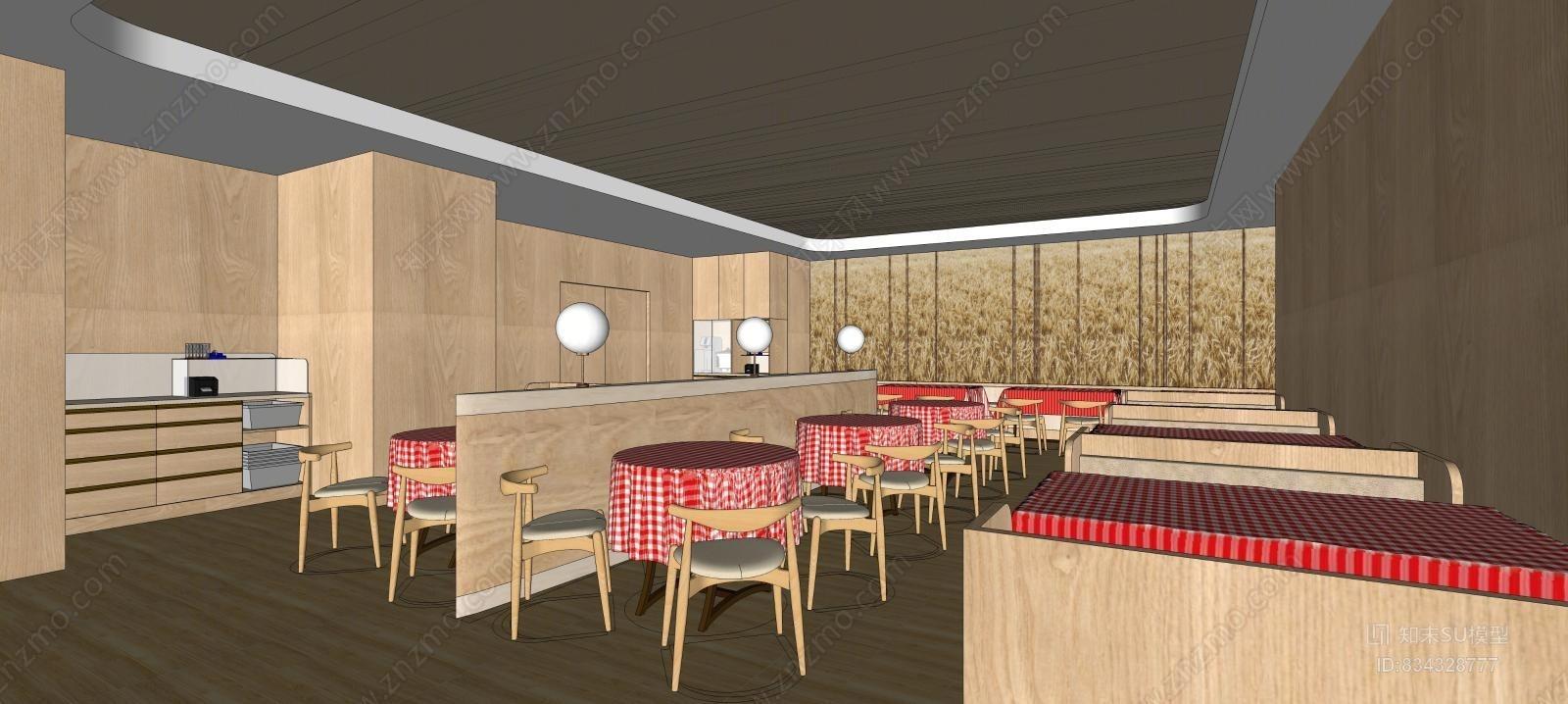 现代餐饮店面空间模型