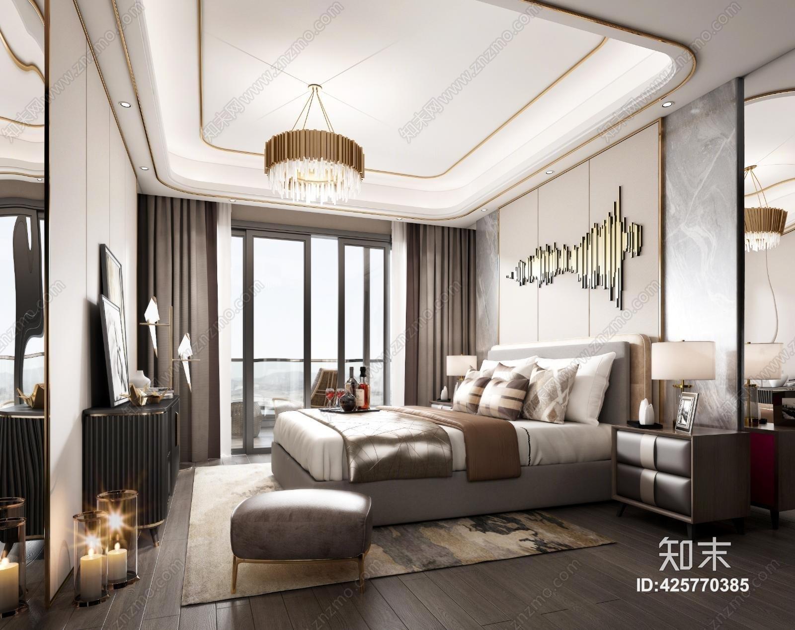 后现代主人房 床具 吊灯 台灯 挂画,电视 装饰品 地毯 床头柜 装饰品 窗帘