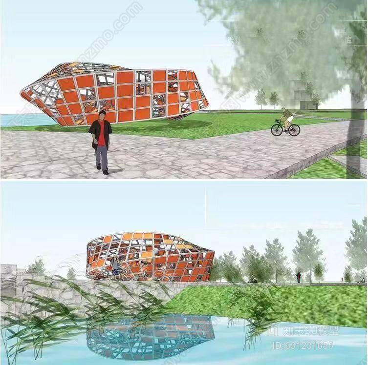 现代创意临水镂空标志物莫比乌斯环装饰景观雕塑小品建筑雨伞 室外 湖 户外 明信片