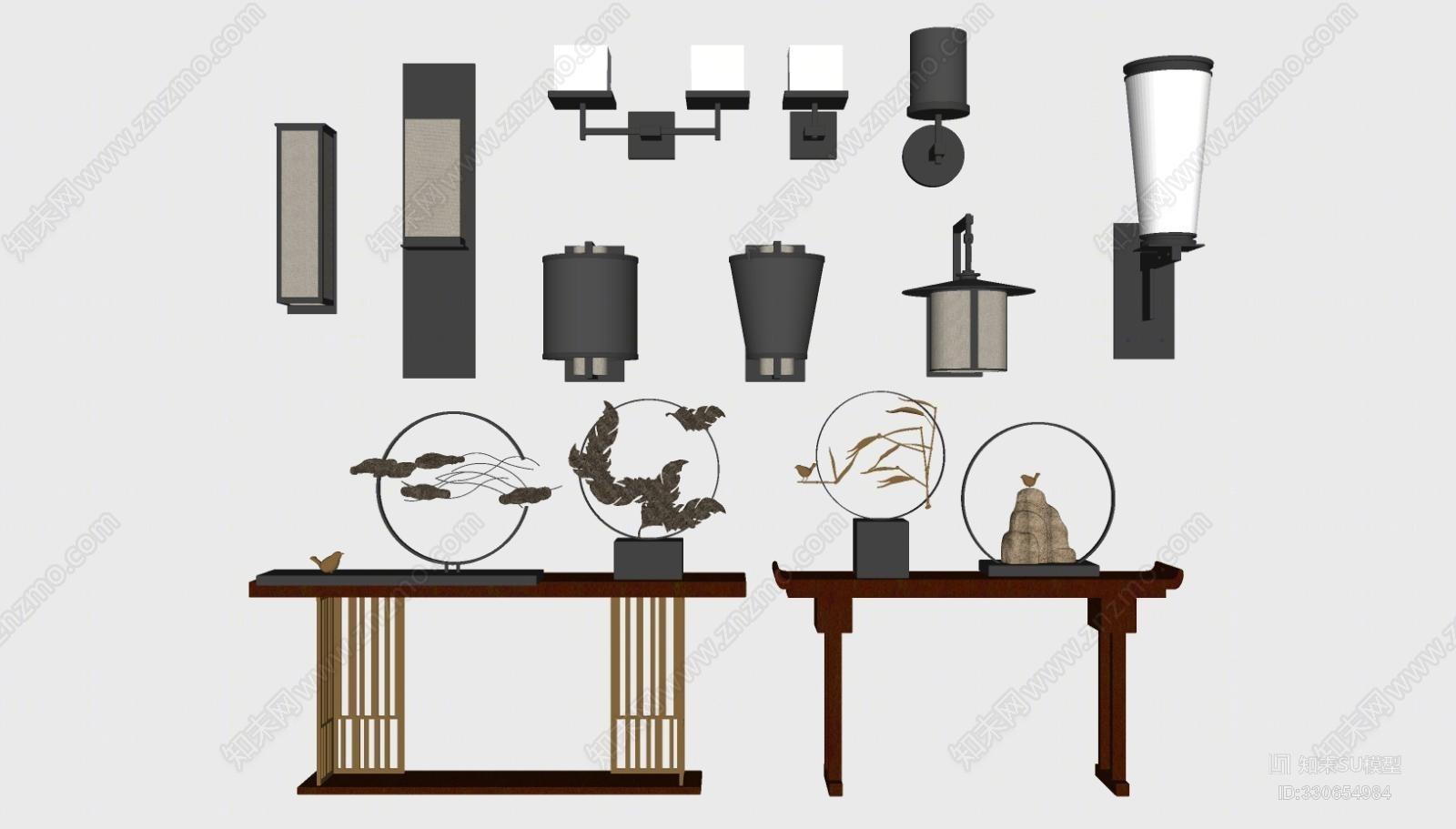 中式壁灯 玄关端景条案摆件组合
