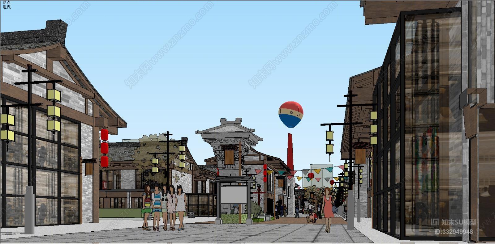 古建筑商业街草图大师街道 街景 建筑