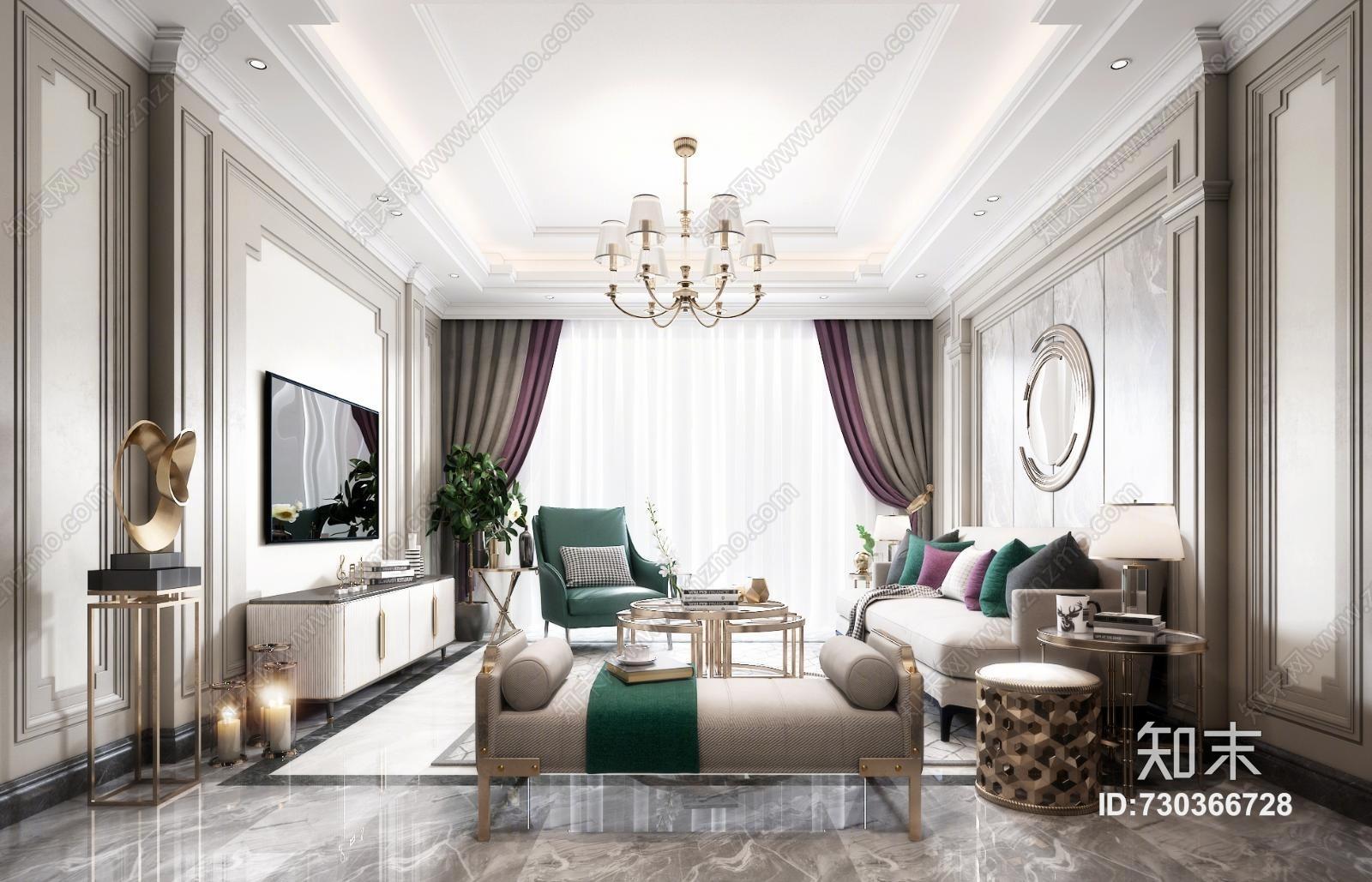 简欧欧式客厅 沙发 餐桌 吊灯 台灯 窗帘 装饰品 挂画 抱枕 茶几 盘栽