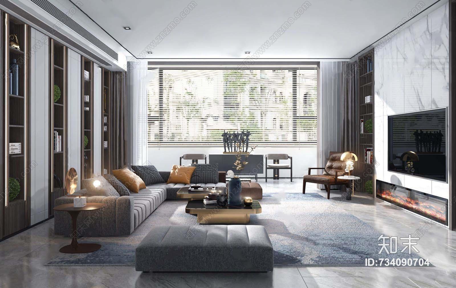 现代客厅沙发 转角沙发 茶几 方塌 饰品摆件