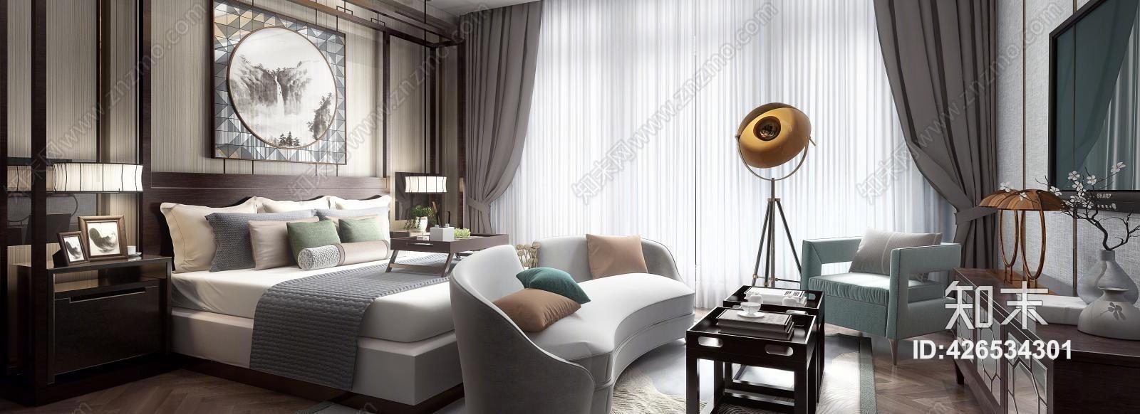新中式别墅主卧室 床头柜 床尾凳 双人床 床 单人床 吊灯 挂画 壁灯